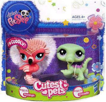 Littlest Pet Shop mascotas lindo Flamingo y la figura de cocodrilo 2-Pack #2572, 2573-653569701842-0