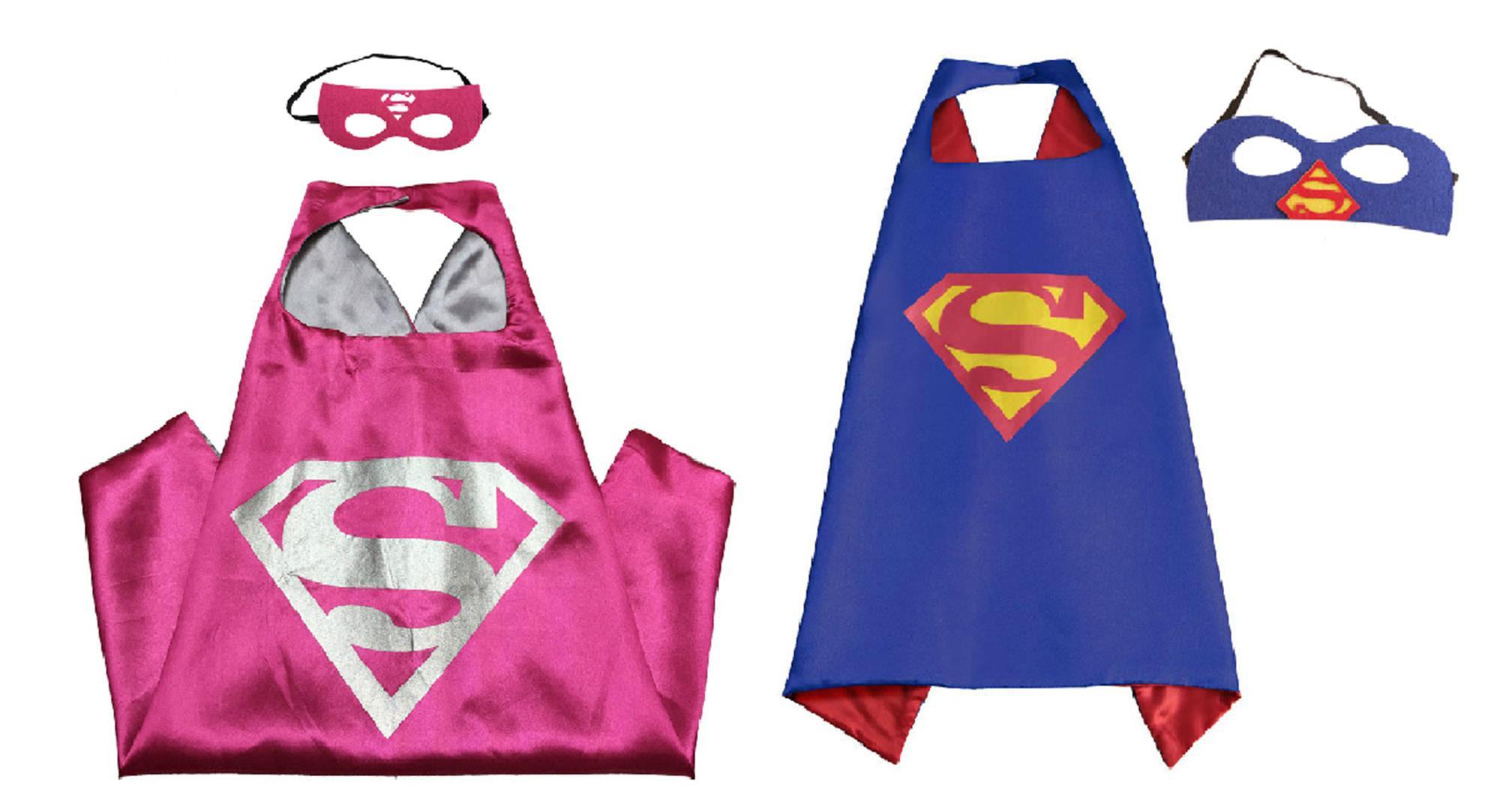 Superman y Supergirl Trajes - 2 Cabos, 2 Máscaras con Caja de Regalo por Superhéroes-654554927339-0