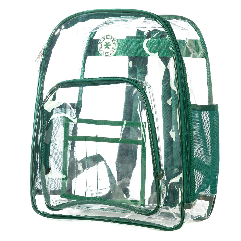 Transparente Muy Resistente Mochila De Ver A Través De Estudiante Bolso Seguridad Del Estadio Transparente Workbag (Claro/Verde Trim)-638888591312-0
