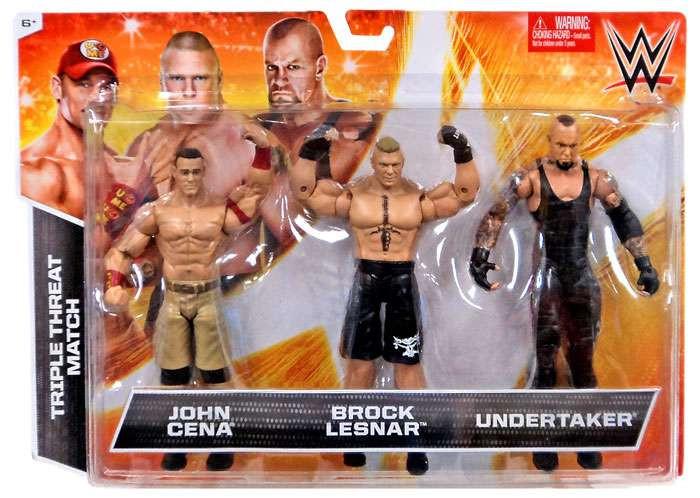 Triple Threat partido acción figura 3-Pack John Cena, Brock Lesnar y Undertaker-887961100884-0