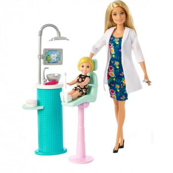 Barbie Carreras Dentista De La Muñeca & Toddler Paciente Muñeca Playset, La Rubia - -887961697018-0