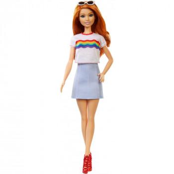 Barbie Fashionistas De La Muñeca, Original Tipo De Cuerpo Usando Arco Iris Tee - -887961694611-0