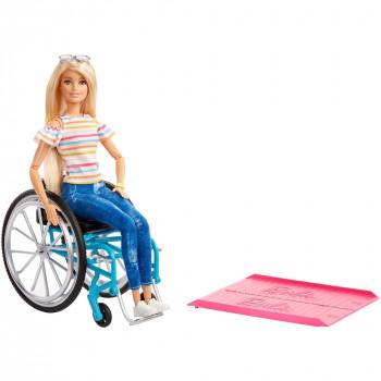 Barbie Fashionistas de Muñeca, Pelo Rubio con Silla de ruedas y rampas - -887961781441-0
