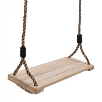 Columpio de madera, al aire libre en Banco Plano con Asiento Ajustable de Nylon de la Cuerda para los Niños Playset Marco o el Árbol, Patio trasero Oscilante Juguete Hey! El juego! - -192055764379-0