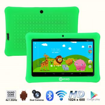 """Contixo 7"""" Pantalla HD de los Niños de la Tableta de 8 gb, Bluetooth, Wi-Fi, más de 20 Juegos Gratis, Niños a Colocar el Control Parental, el Niño-a Prueba de Caso (Verde)-731642724121-0"""