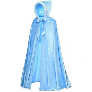 """Disfraz de capa de princesa con capucha de lujo de longitud completa para niñas de 3 a 12 años - Color real: azul Tamaño de la ropa: tamaño grande: 90 cm / 35,5 """"-987879122-w-0"""