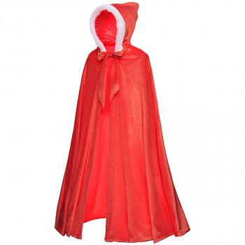 Disfraz de capa de princesa con capucha de lujo de longitud completa para niñas de 3 a 12 años - Color real: rojo Tamaño de la ropa: 3t: 5-279647021-w-0