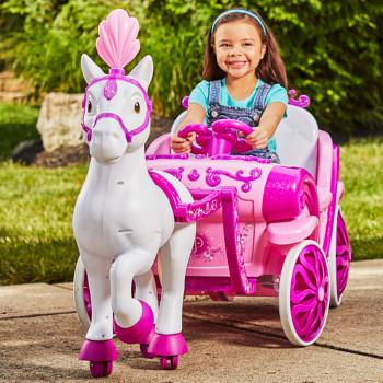 Disney Princess Royal Caballo y el Carro Niñas 6V correpasillos por Enojado-028914173184-0