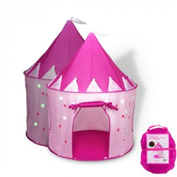 Fox Impresión Castillo de la Princesa Juego de Tienda de campaña con Resplandor en la Oscuridad de las Estrellas, muy bien los pliegues en un maletín de transporte, sus hijos podrán disfrutar de este Plegable Pop-Up de color rosa reproducir la tienda/casa