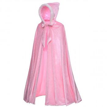Full Length Deluxe Princess Hooded Cape Cloaks Traje para niñas vestirse 3-12 años - color real: rosaLa talla: 3t: 5-684101012-w-0