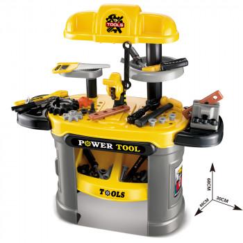 Juego de herramientas para niños Amarillo, banco de trabajo para niños, banco de herramientas, juego de simulación, ideal para pequeños constructores --853758008008-0