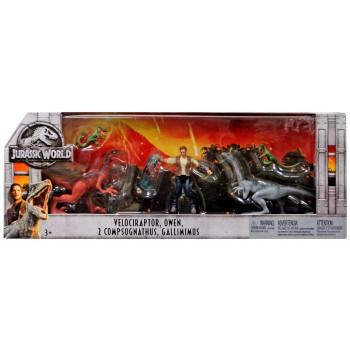 Jurassic World Caído Reino Velociraptor, Owen, 2x Compsognathus Y Gallimimus Figura de Acción 3-Pack-887961653939-0