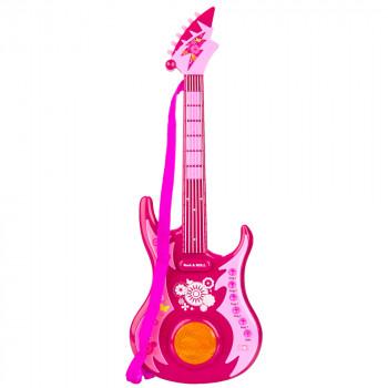Las niñas Colorido Electrónica, Rock 'n' Roll de Plástico de 24 Pulgadas Musical de la Guitarra de Juguete Conjunto Con Correa para la Educación, el Juego imaginativo - -472939687-w-0