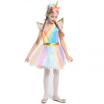 Las niñas Traje del Unicornio del arco iris Vestido con alas Diadema para la Fiesta de Halloween-221675904-CL-AW619-1-w-0