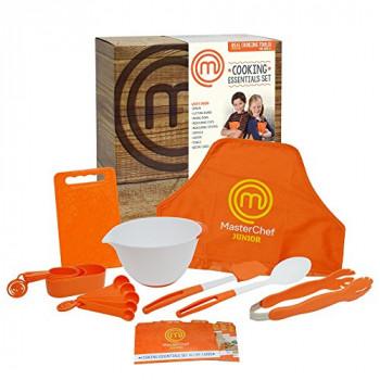 MasterChef Junior De Cocina Essentials Set - 9 Pc. El Kit Incluye bienes Utensilios de cocina para Niños, Recetas y Delantal-795545882517-A-0