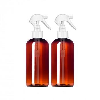 MoYo Natural Labs 8 oz Botellas de Aerosol, Boston Ronda Gatillo Pulverizador Vacío de Viaje Contenedores, Libre de BPA de Plástico PET para Aceites Esenciales y Líquidos/Cosméticos (Pack de 2, Ámbar)-669002975145-0