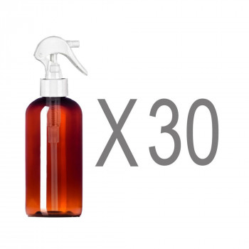 MoYo Natural Labs 8 oz Botellas de Aerosol, Boston Ronda Gatillo Pulverizador Vacío de Viaje Contenedores, Libre de BPA de Plástico PET para Aceites Esenciales y Líquidos/Cosméticos (Pack de 30, Ámbar)-669002968536-0