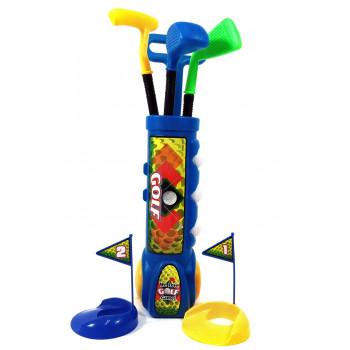 Niño Feliz Golfista Juguete Set de Golf w/ 3 Pelotas de Golf, 3 Tipos de Clubes, 2 Hoyos de Prácticas, Perfecto Set de Golf para Niños (Azul) - -751446792416-0