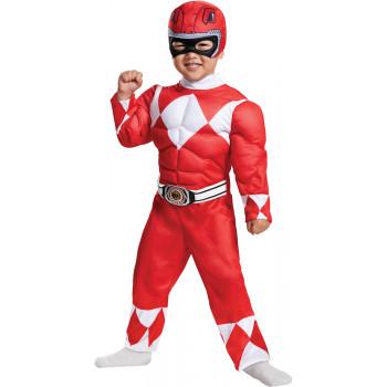 Niño Mighty Morphin Power Ranger Ranger Rojo Músculo Traje De Disfraces De Halloween-039897673684-0