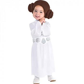 Party City Princess Leia Disfraz de Halloween para bebés, Star Wars, 6-12 meses, incluye accesorios-192937018149-A-0