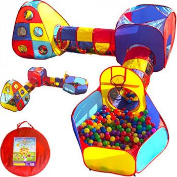 Playz 5pc Niños de la Casita de la Selva Gimnasio w/ Pop de Tiendas de campaña, Túneles, y el Baloncesto en Boxes para los Niños, las Niñas, los Bebés y los Niños pequeños con Cremallera en la caja de Almacenamiento para Interior Y el Uso al aire libre-61