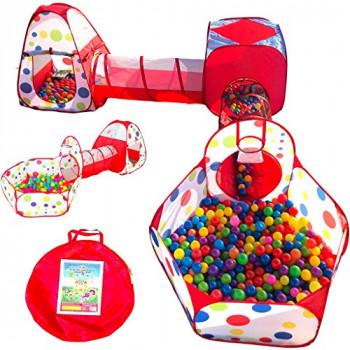 Playz 6-Pieza de los Niños Jugar a las Tiendas de campaña de Rastreo de los Túneles de la Bola y el Hoyo Emergente de Rebote Playhouse Tienda de campaña con Aro de Baloncesto para Uso Interior y Exterior con Rojo estuche de transporte-617689939899-A-0