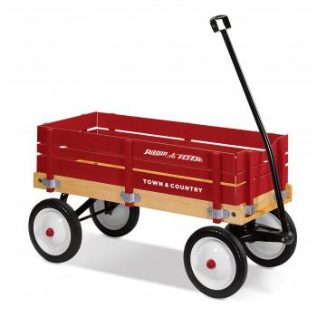 Radio Flyer, Town & Country Wagon, Cuerpo de madera, Rojo-042385909035-0