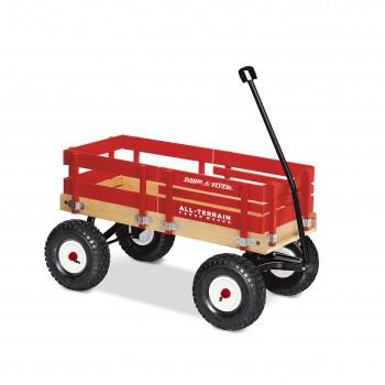 Radio Flyer, vagón de carga de madera todo terreno, neumáticos de aire, rojo-042385909356-0