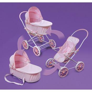 """Tejón cesta moña rosa 3 en 1 cochecito de la muñeca - se ajusta más 18"""" muñecas y mi vida como-046605735626-0"""