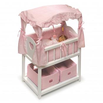 """Tejón cesta muñeca dosel cuna con cestas y móviles - se ajusta más 18"""" muñecas y mi vida como-046605717233-0"""