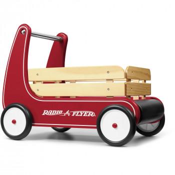 Vagón caminador clásico Radio Flyer, caminador de madera para empujar, color rojo-042385111070-0