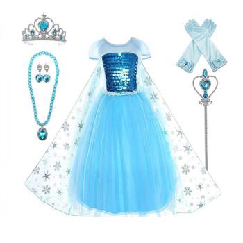 Vestido de fiesta de princesa Frozen para niños con collares de tiara y varita - Color real: elsadresswithaccessoriesTalla de ropa: 6-350851252-w-0