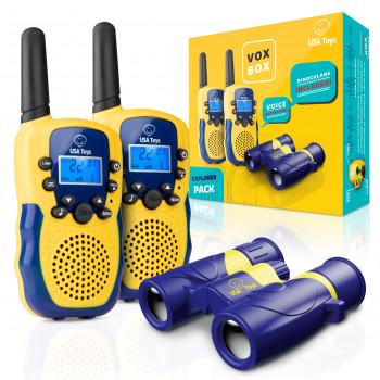 Walkie Talkies para niños con binoculares para niños, caja Vox, radios de largo alcance para niños con walkie talkies activados por voz con rango de más de 3 millas y binoculares de 6 x 21 para niños con estuche de transporte-645380996828-0